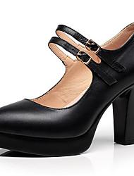 Damen High Heels Pumps Leder Frühling Herbst Pumps Blockabsatz Schwarz 7,5 - 9,5 cm