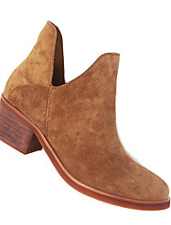 Women's Boots Comfort Suede Spring Casual Brown Black Flat