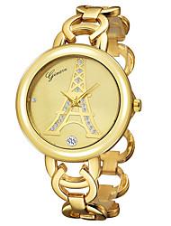 Женские Наручные часы Кварцевый Позолота 18К Группа Эйфелева башня Кольцеобразный Золотистый