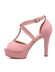 Damen Sandalen Knöchelriemen Leder Sommer Kleid Knöchelriemen Perle Stöckelabsatz Weiß Schwarz Rosa Mandelfarben 10 - 12 cm