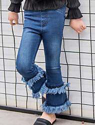 Para Meninas Jeans Cor Única Verão