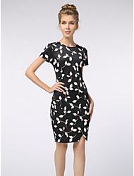 Courte Robe Femme Travail simple,Fleur Col Arrondi Mi-long Manches Courtes Polyester Eté Taille Normale Non Elastique Fin