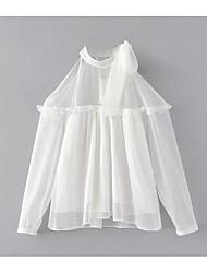 Damen Solide Einfach Normal Bluse,Rundhalsausschnitt Sommer Langarm Baumwolle Semi-transparent
