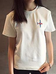 Damen Stickerei Einfach T-shirt,Rundhalsausschnitt Sommer Kurzarm Baumwolle Mittel