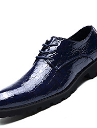 Men's Oxfords Formal Shoes PU Spring Fall Office & Career Party & Evening Formal Shoes Lace-up Flat Heel Black Ruby Blue 1in-1 3/4in