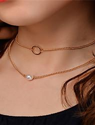 Gargantillas Collares con colgantes Collares de cadena Obsidiana Colgante Perla Artificial Cobre Hebra Única Collares ParaFiesta Ocasión