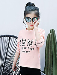 Solid Color Animal Print Tee,Cotton Spring Fall Long Sleeve