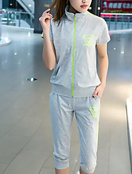 Women's Athletic Daily Street chic Spring Hoodie Pant Suits,Letter & Number Stand Short Sleeve Micro-elastic