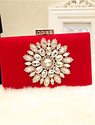 Women Evening Bag PU All Seasons Event/Party Party & Evening Club Baguette Magnetic Red Black