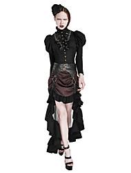 Femme Vintage Chic de Rue Punk & Gothic Quotidien Soirée Asymétrique Jupes,Trompette/Sirène Bandes Mode Tulle Volants RayéPrintemps,