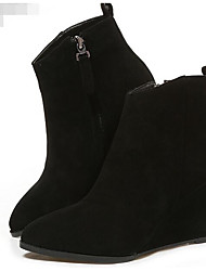 Women's Boots Comfort Suede Spring Casual Khaki Black Flat