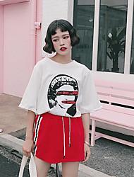 Damen Buchstabe Einfach T-shirt,Rundhalsausschnitt Sommer Kurzarm Baumwolle Undurchsichtig