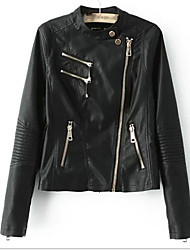 Women's Casual/Daily Simple Spring Fall Leather Jacket,Solid Round Neck Long Sleeve Regular PU