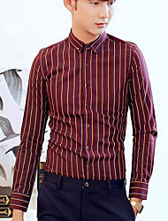 Men's Casual Simple Shirt,Striped Classic Collar Long Sleeve Polyester