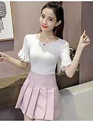 Damen Solide Einfach Niedlich Lässig/Alltäglich T-shirt,Rundhalsausschnitt Kurzarm Baumwolle