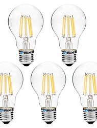 8W Ampoules à Filament LED A60(A19) 8 COB 600 lm Blanc Chaud Blanc V 5 pièces
