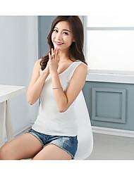 Damen Solide Sexy Lässig/Alltäglich T-shirt,Rundhalsausschnitt Ärmellos Elasthan