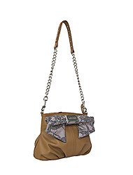 Kate&Co. luxury fashion leather handbag bow oblique backpack TH-02120 Camel