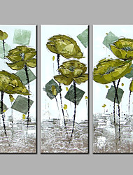 Hand-Painted Abstract Vertical,Contemporary Three Panels Oil Painting For Home Decoration