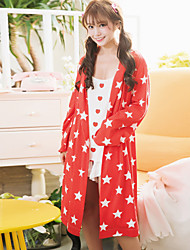 Женский халат сладкий звездный узор неба простой досуг мягкий пижамный