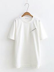 Damen Solide Einfach Normal T-shirt,Rundhalsausschnitt Kurzarm Baumwolle Polyester