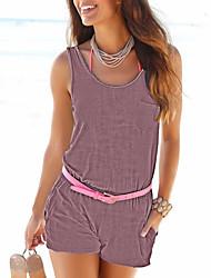 Feminino Moda de Rua Cintura Média Praia Casual Férias Macacão,Delgado Fashion Cor Única Férias Fashion Sexy Verão Primavera