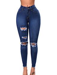 Damen Denim Jeans Polyester Elasthan Solide Einfarbig Shredded Jeans Legging