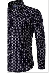 Men's Casual/Daily Vintage Spring Fall Shirt,Plaid/Check Shirt Collar Long Sleeve Cotton Blend Medium