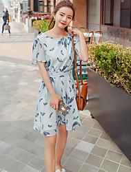 Women's Casual Simple Chiffon Dress,Floral Scoop Knee-length Short Sleeve Chiffon Summer High Rise Inelastic Thin