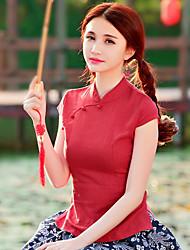 Feminino Camiseta Aniversário Temática AsiáticaSólido Outros Colarinho Chinês Manga Curta