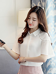 Women's Daily Cute Blouse,Solid Shirt Collar Short Sleeve Polyester