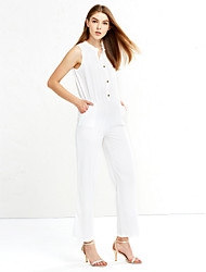 Women's Wide Leg Solid White Jumpsuits,Holiday Deep V Show Thin Neck Sleeveless