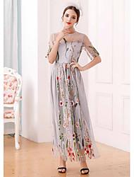 Dámské Běžné/Denní Swing Šaty Výšivka,Krátký rukáv Kulatý Maxi Polyester Léto High Rise Lehce elastické Tenké