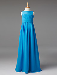 A-Line Boat Neck Floor Length Chiffon Junior Bridesmaid Dress with Sash / Ribbon Ruching Pleats by LAN TING BRIDE®