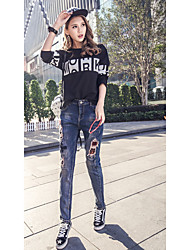 Spring models BF hole beggar pants female denim trousers collapse pants harem pants loose embroidery stretch pants feet