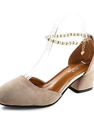 Women's Sandals PU Summer Chunky Heel Black Beige Light Brown 2in-2 3/4in