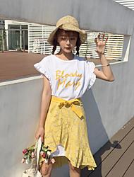 Manches Ajustées Jupe Costumes Femme,Lettre Sortie Décontracté / Quotidien simple Street Chic Printemps Manches Courtes Col Arrondi