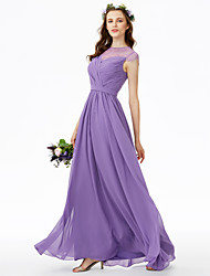 A-Line Jewel Neck Floor Length Chiffon Lace Bridesmaid Dress with Lace Sash / Ribbon Criss Cross Pleats by LAN TING BRIDE®