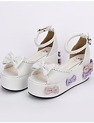 Sapatos Doce Lolita Clássica e Tradicional Lolita Princesa Confeccionada à Mão Plataforma Laço Lolita 8 CM Branco ParaCouro PU/Couro de