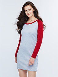 Women's Casual/Daily Sexy Sheath Dress,Patchwork Round Neck Above Knee Long Sleeve Blue / Red Cotton Spring / Fall High Rise Stretchy