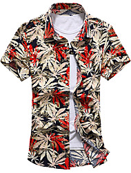 Men's Plus Size Going out Party Vintage Street chic Spring Summer Shirt,Floral Standing Collar Short Sleeve Cotton Medium