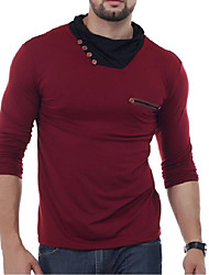 Men's Casual Vintage Spring Fall T-shirt,Solid High Neck Long Sleeve Cotton Blend