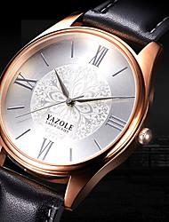 YAZOLE Муж. Модные часы Наручные часы Повседневные часы Кварцевый Кожа Группа Цветы Cool Повседневная Элегантные часы Черный Коричневый