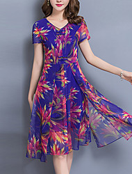 Women's Plus Size Going out Sophisticated A Line Chiffon Dress,Print V Neck Knee-length Short Sleeve Polyester Summer Mid Rise