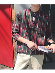 Masculino Camisa Social Casual VintageListrado Algodão Colarinho Chinês Manga 3/4
