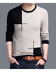 Normal Pullover Homme Décontracté Vintage,Couleur Pleine Col Arrondi Manches Longues Polyester Printemps Automne Moyen Micro-élastique