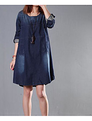 Women's Going out Casual/Daily Vintage Street chic Loose Denim Dress,Solid Round Neck Above Knee ¾ Sleeve Cotton Denim Spring SummerMid