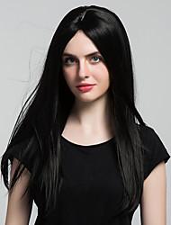 жен. Парики из искусственных волос Без шапочки-основы Длиный Прямые Черный как смоль Парик из натуральных волос Карнавальные парики