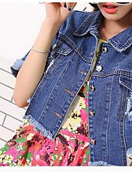 Feminino Jaqueta jeans Fibra de Bamboo Colarinho Chinês Manga Longa