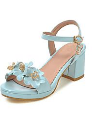 Damen Sandalen Pumps PU Sommer Kleid Party & Festivität Pumps Blockabsatz Weiß Blau Rosa 5 - 7 cm